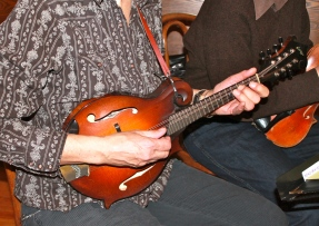 Close--up of Connie's mandolin.