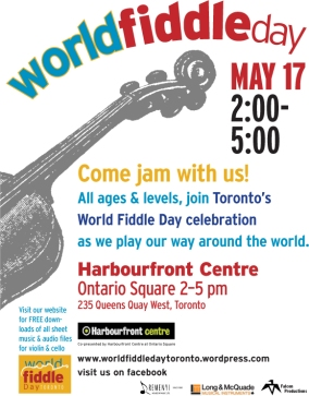 World Fiddle Day poster for Harbourfront event May 17