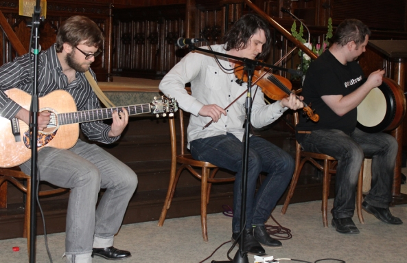 Fiddler James Law, guitarist Graeme McGillivray and bodhrán player Jacob McCauley of the trio NUA.