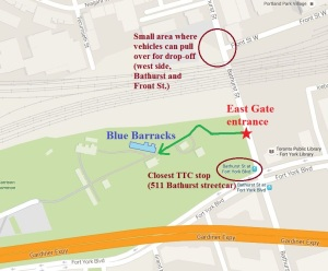 Directions to Fort York via East Gate